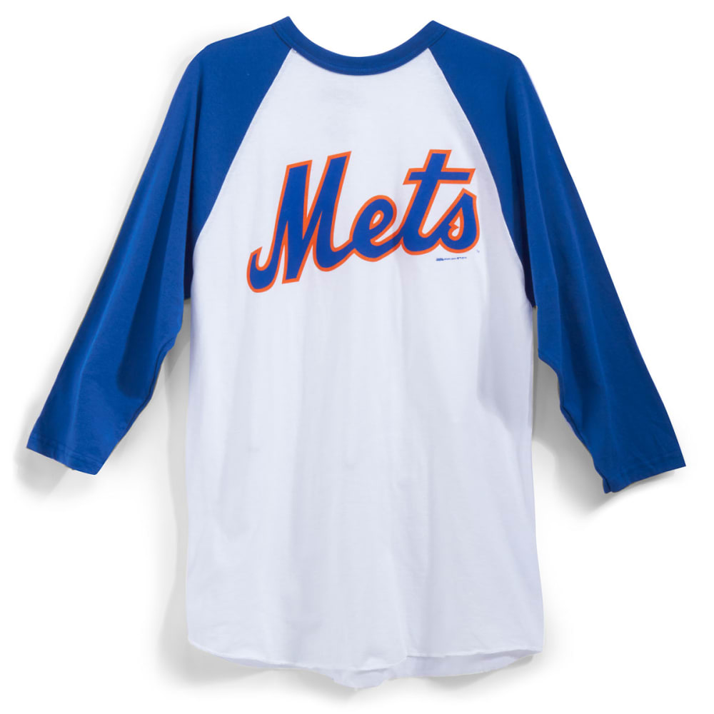 NEW YORK METS Men's Logo ¾ Raglan Tee - WHT/RYL