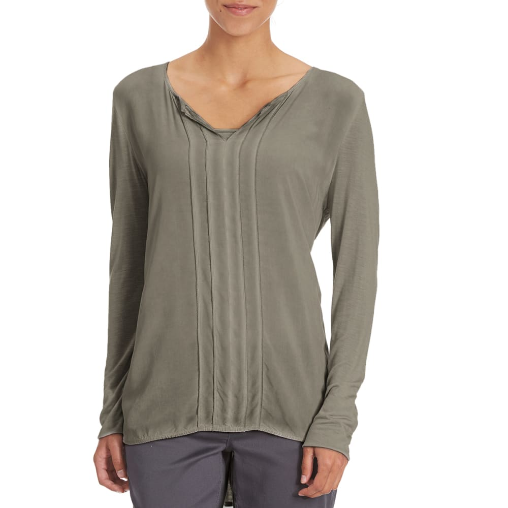 COUPÉ COLLECTION Women's Mineral Wash Knit to Woven Top - CHARCOAL