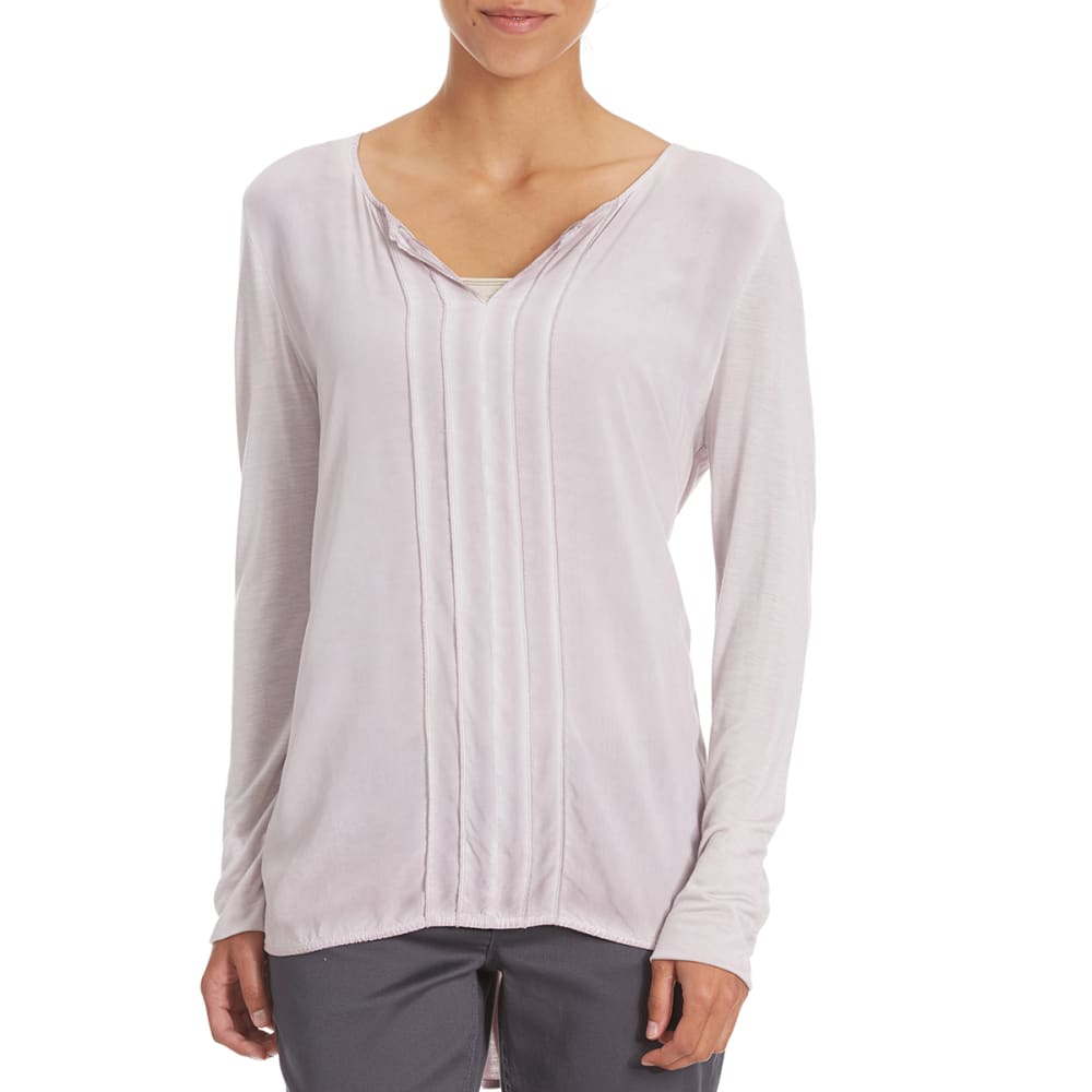 COUPÉ COLLECTION Women's Mineral Wash Knit to Woven Top - PLUM
