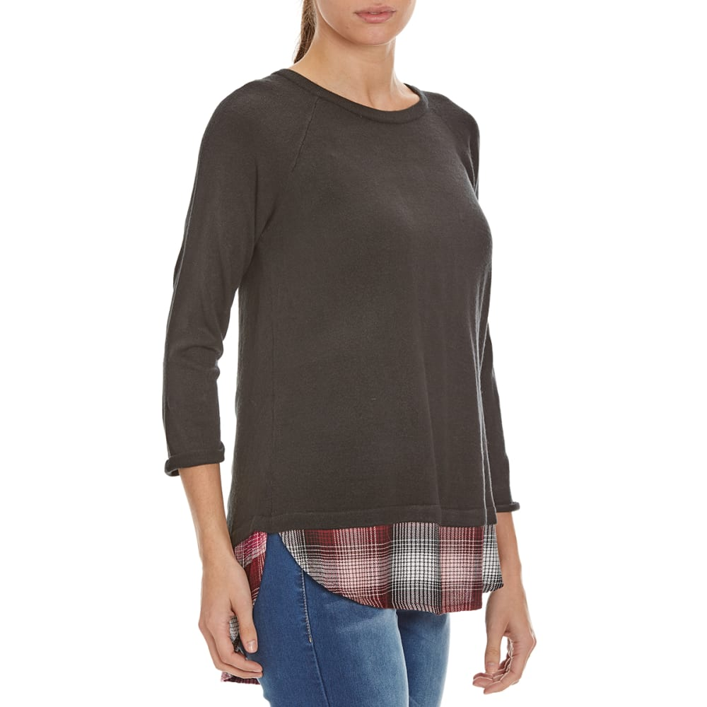 COUPE COLLECTION Women's Plaid Hem Sweater - BLACK