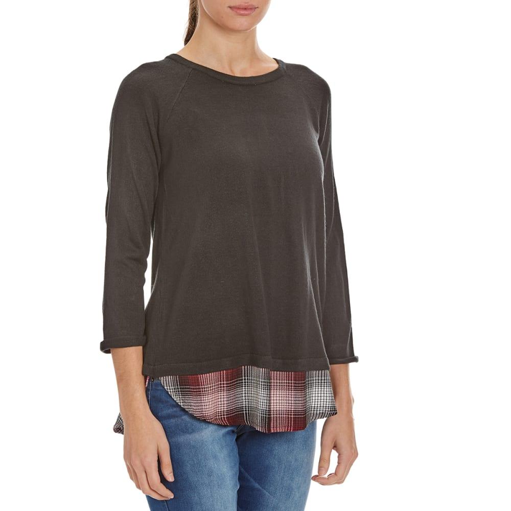 COUPE COLLECTION Women's Plaid Hem Sweater - BLACK