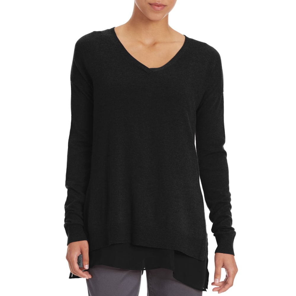 TRIPLE 5 Women's Chiffon Trim Sweater - CHARCOAL