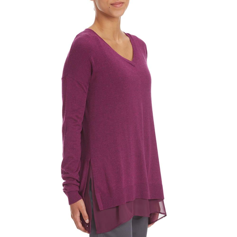 TRIPLE 5 Women's Chiffon Trim Sweater - MAGENTA