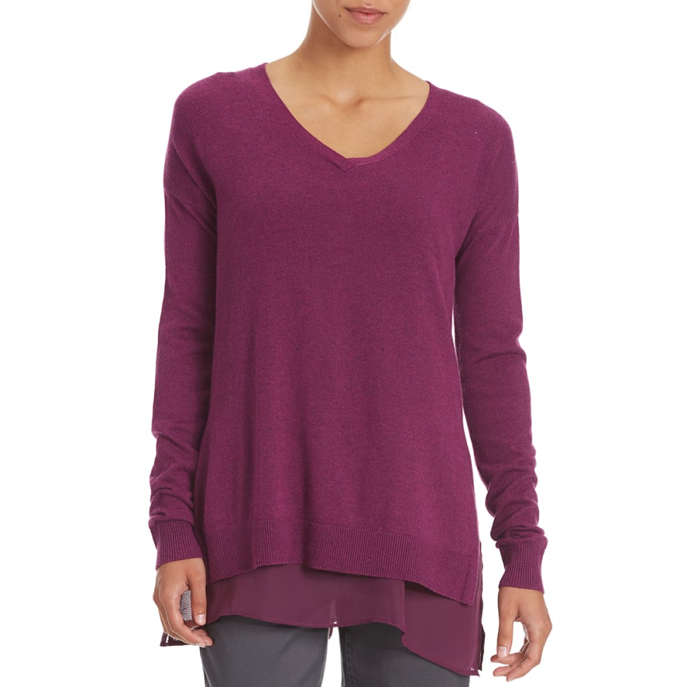 TRIPLE 5 Women's Chiffon Trim Sweater - MAGENTA