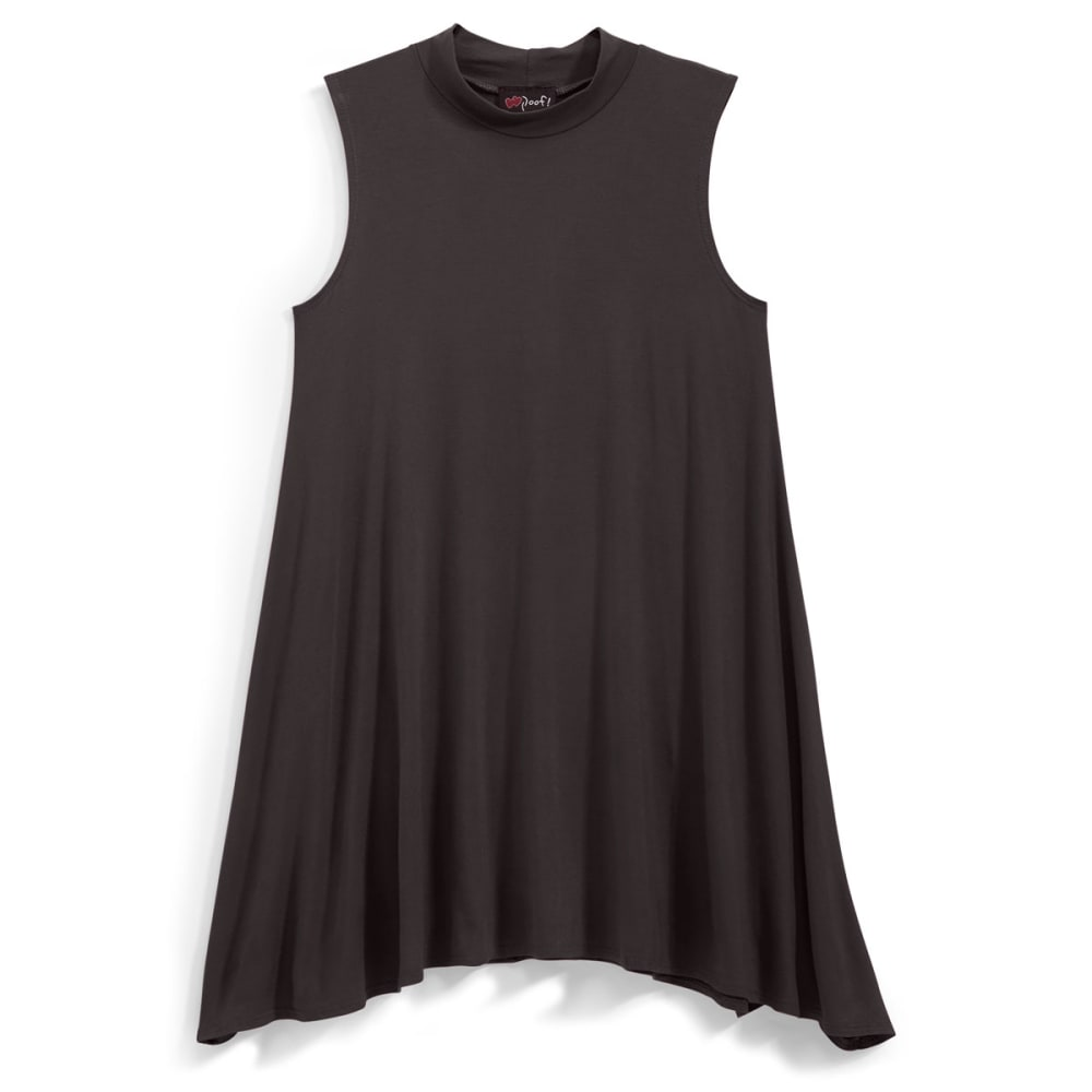 POOF Juniors' Mock Neck Trapeze Dress - BLACK