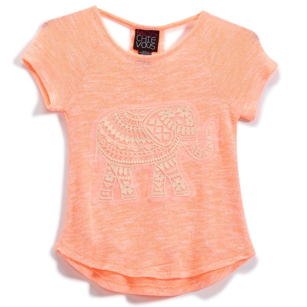 MISS CHIEVOUS Girls' Hacci Racerback Crochet Elephant Tee - PEACH SMOOTHIE