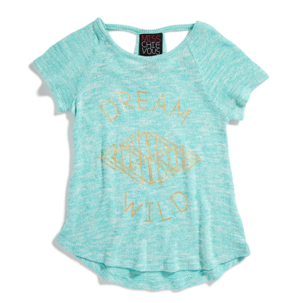 "MISS CHIEVOUS Girls' Hacci Racerback ""Dream Wild"" Tee - PISTACHIO"