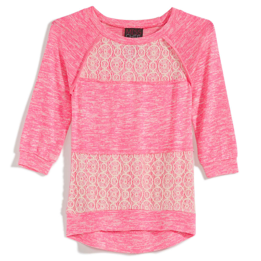 MISS CHIEVOUS Girls' Hacci Crochet ¾ Sleeve Panel Tunic - NEON BUBBLEGUM
