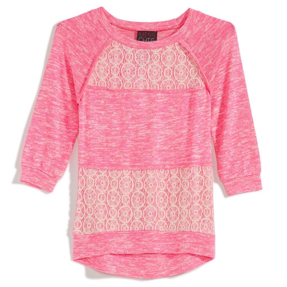 MISS CHIEVOUS Girls' Hacci Crochet ¾ Sleeve Panel Tunic - NEON BUBBLEGUM