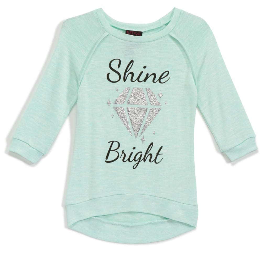 MISS CHIEVOUS Girls' Hacci Shine Bright ¾ Sleeve Tunic - BROOK GREEN