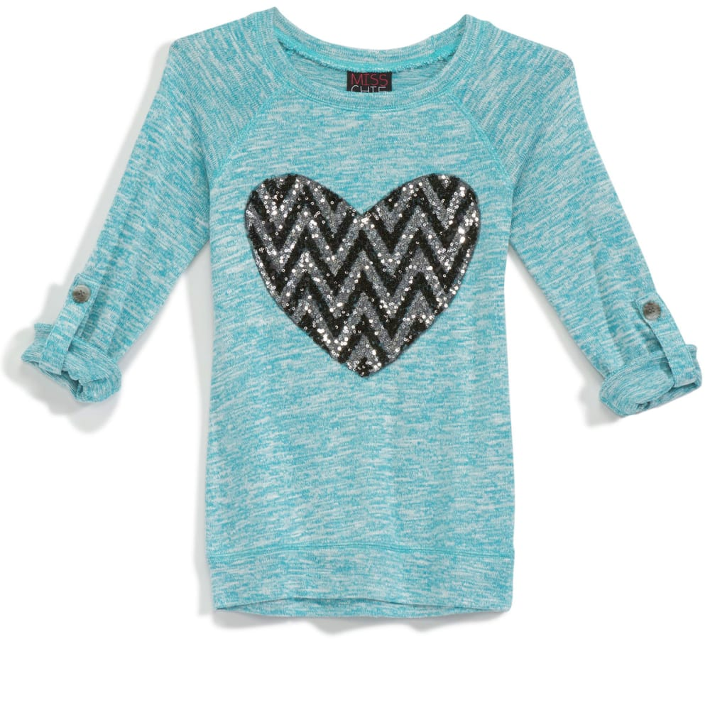 MISS CHIEVOUS Girls' Hacci Sequin Chevron Heart ¾ Sleeve Tunic - TEAL OCEAN