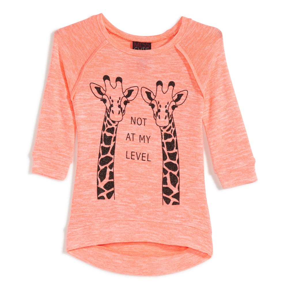 "MISS CHIEVOUS Girls' Hacci ""Not On My Level"" ¾ Sleeve Tunic - FLOURESCENT CORAL"