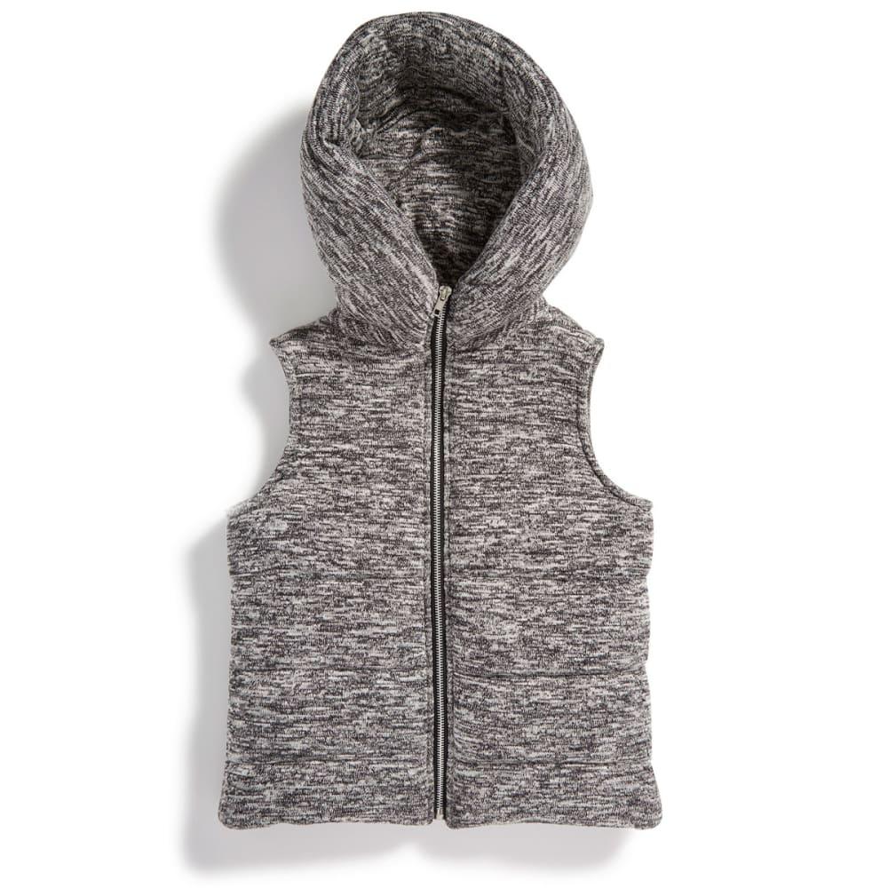 MISS CHIEVOUS Girls' Sweater Knit Hoodie Puffer Vest - BLACK