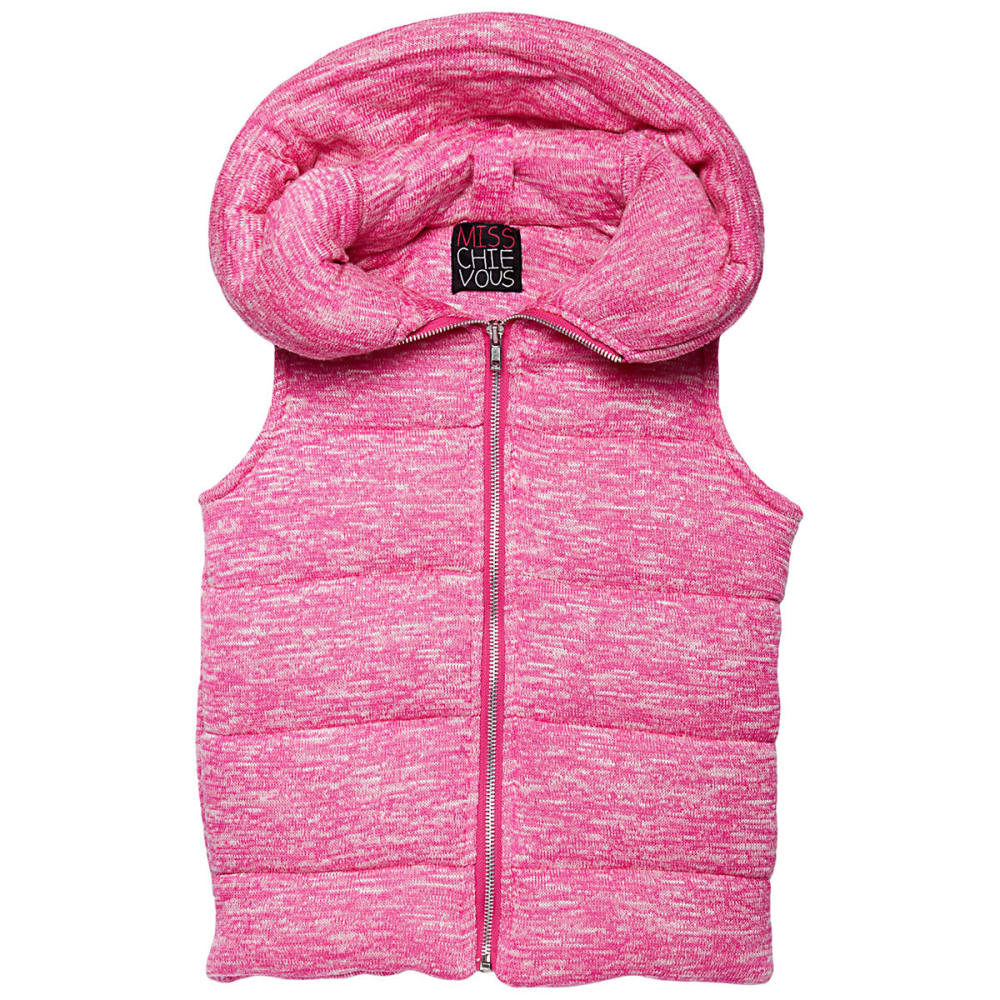 MISS CHIEVOUS Girls' Sweater Knit Hoodie Puffer Vest - PINK GLAM
