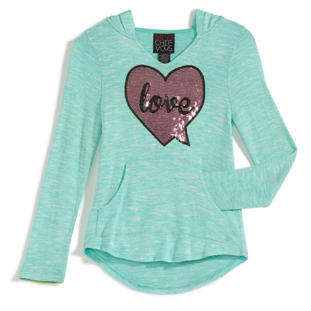 "MISS CHIEVOUS Girls' Hacci ""Love"" Sequin Hoodie - AQUA STONE"