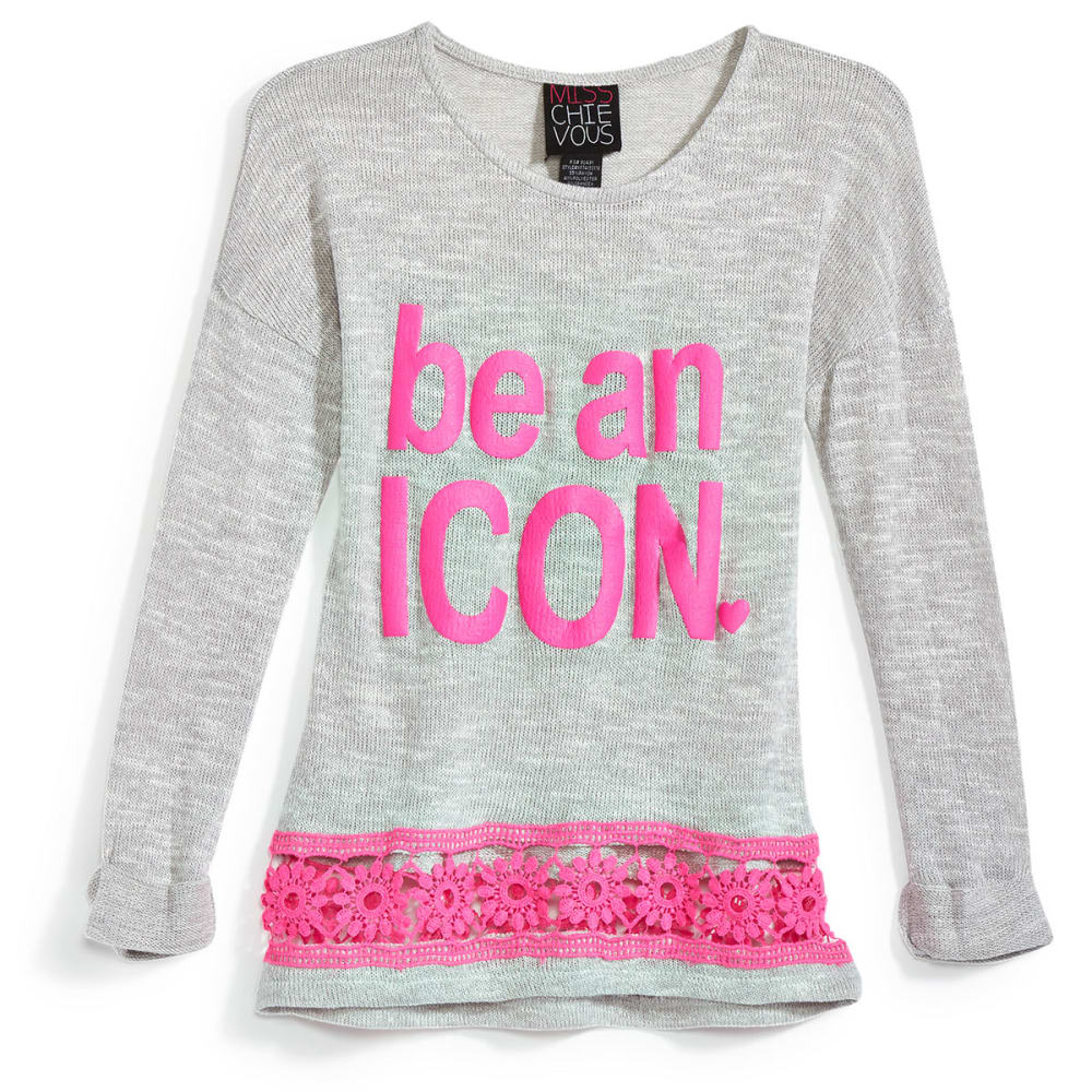"MISS CHIEVOUS Girls' ""Be an Icon"" Hacci Crochet Hem Top - SOFT SILVER"