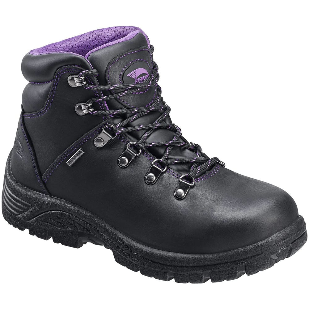 AVENGER Women's 7124 Steel Toe Waterproof Workboot, Wide - BLACK
