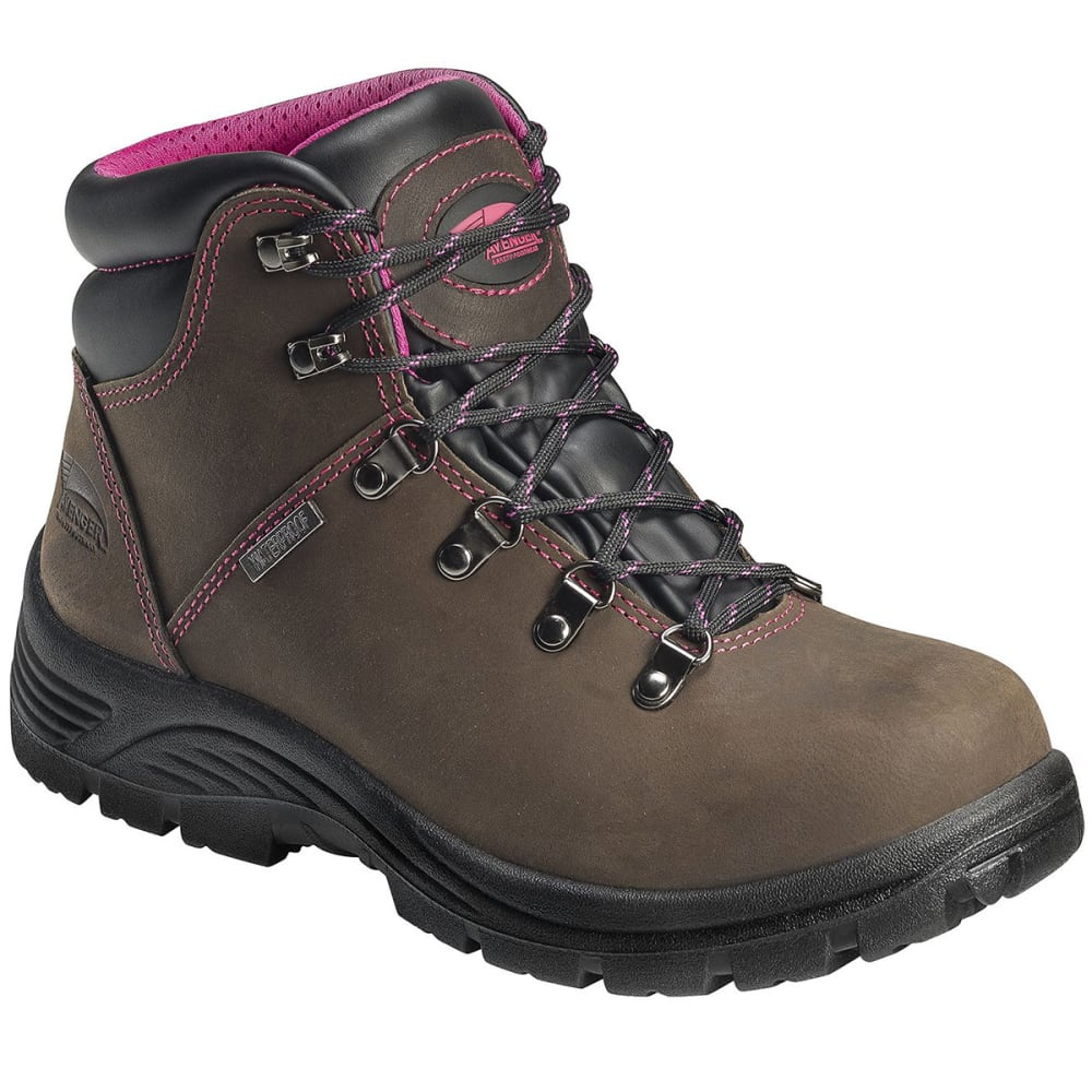 Avenger Women's 7124 Steel Toe Waterproof Workboot, Brown