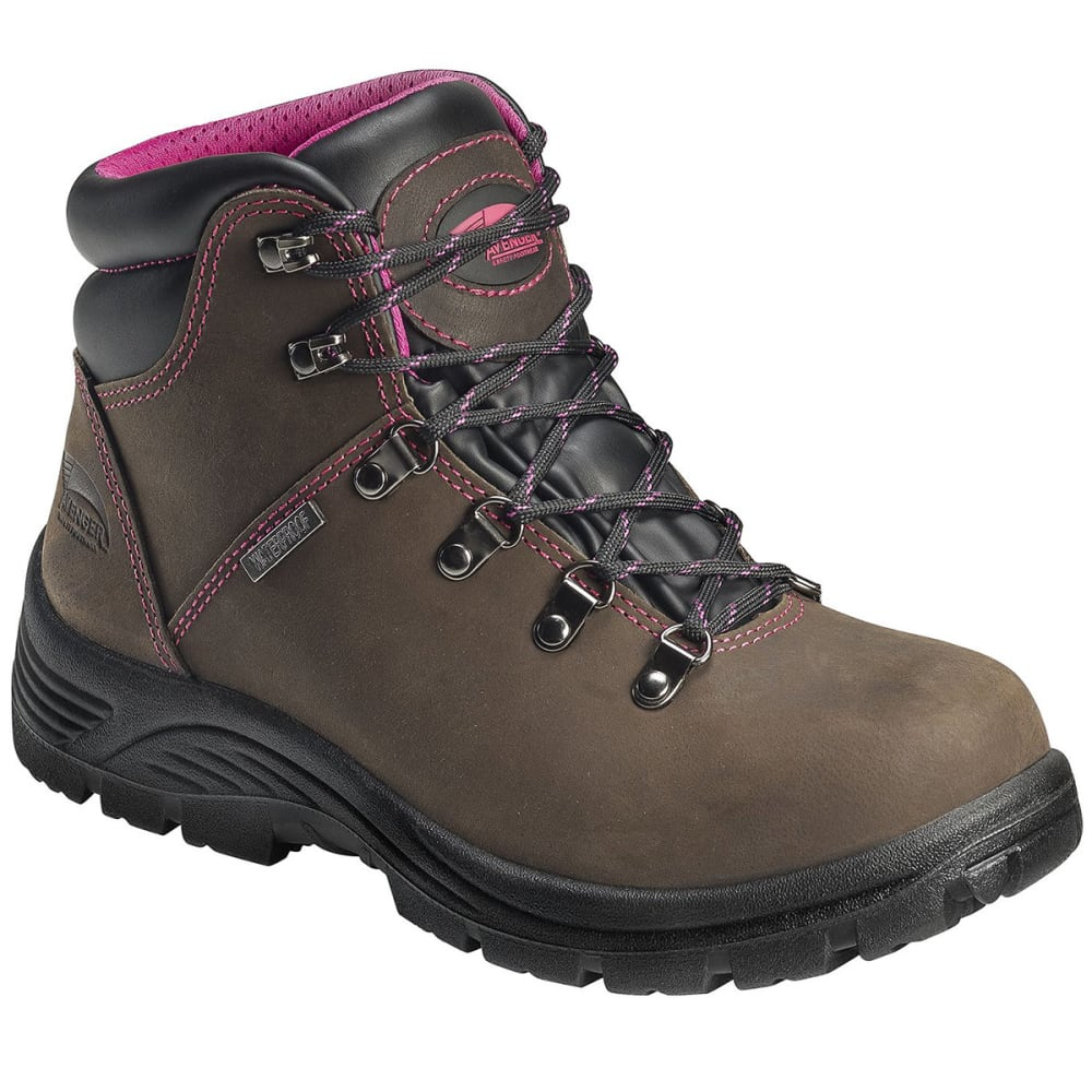 AVENGER Women's 7124 Steel Toe Waterproof Workboot, Wide, Brown - BROWN