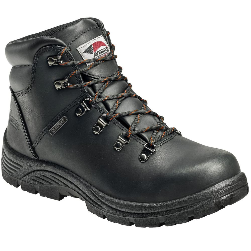 AVENGER Men's 7224 Waterproof Steel Toe Boot, Wide - BLACK