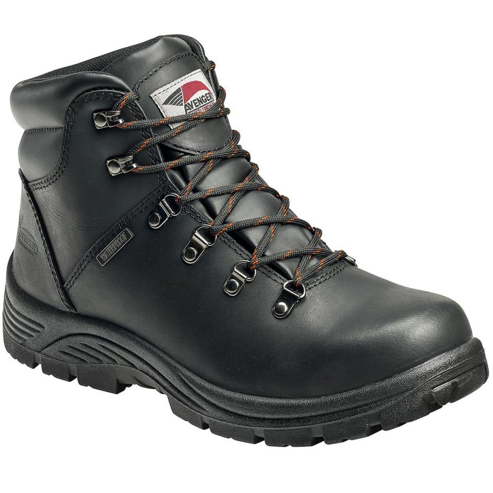 AVENGER Men's 7224 Waterproof Steel Toe Boot, Wide - BLACK