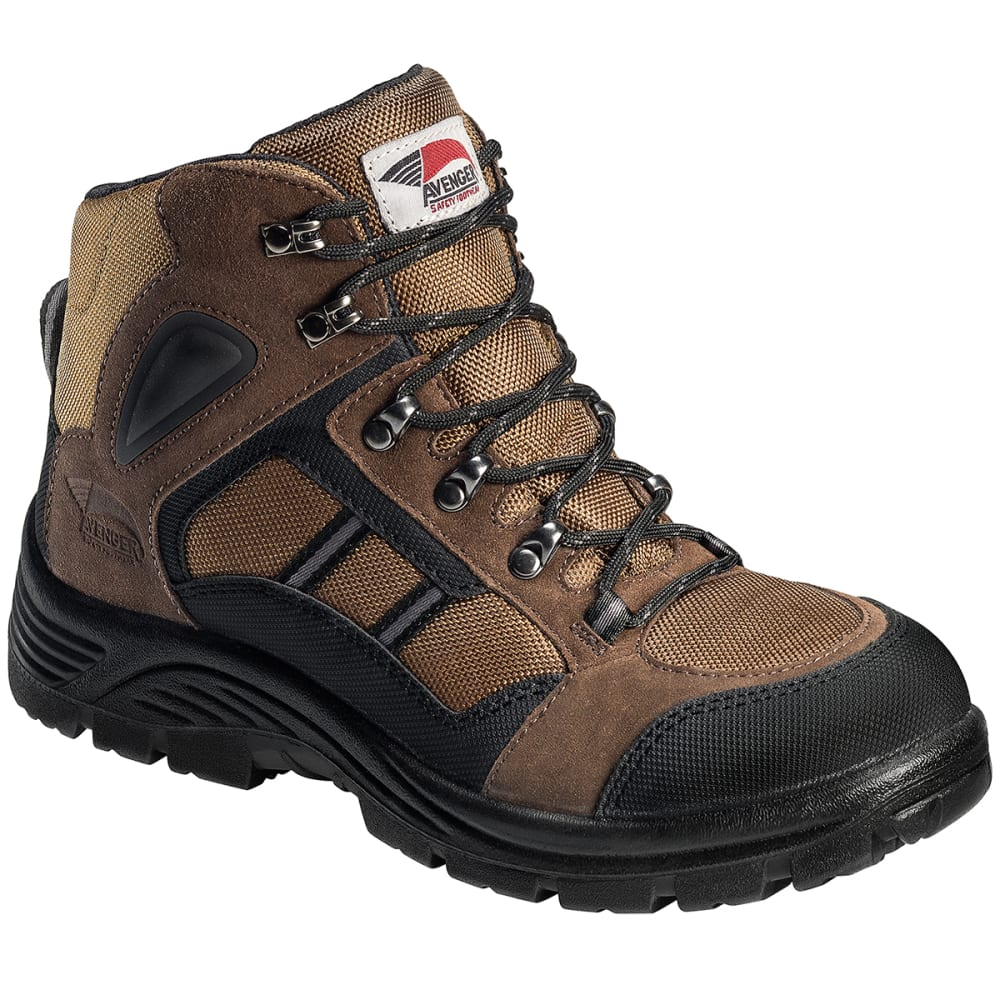AVENGER Men's 7241 Steel Toe Boot, Brown, Wide - BROWN