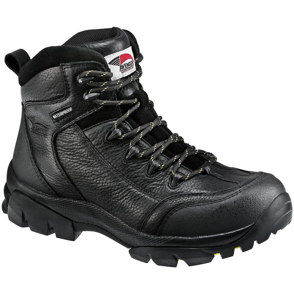 AVENGER Men's 7244 Composite Toe Waterproof Work Boot, Black - BLACK