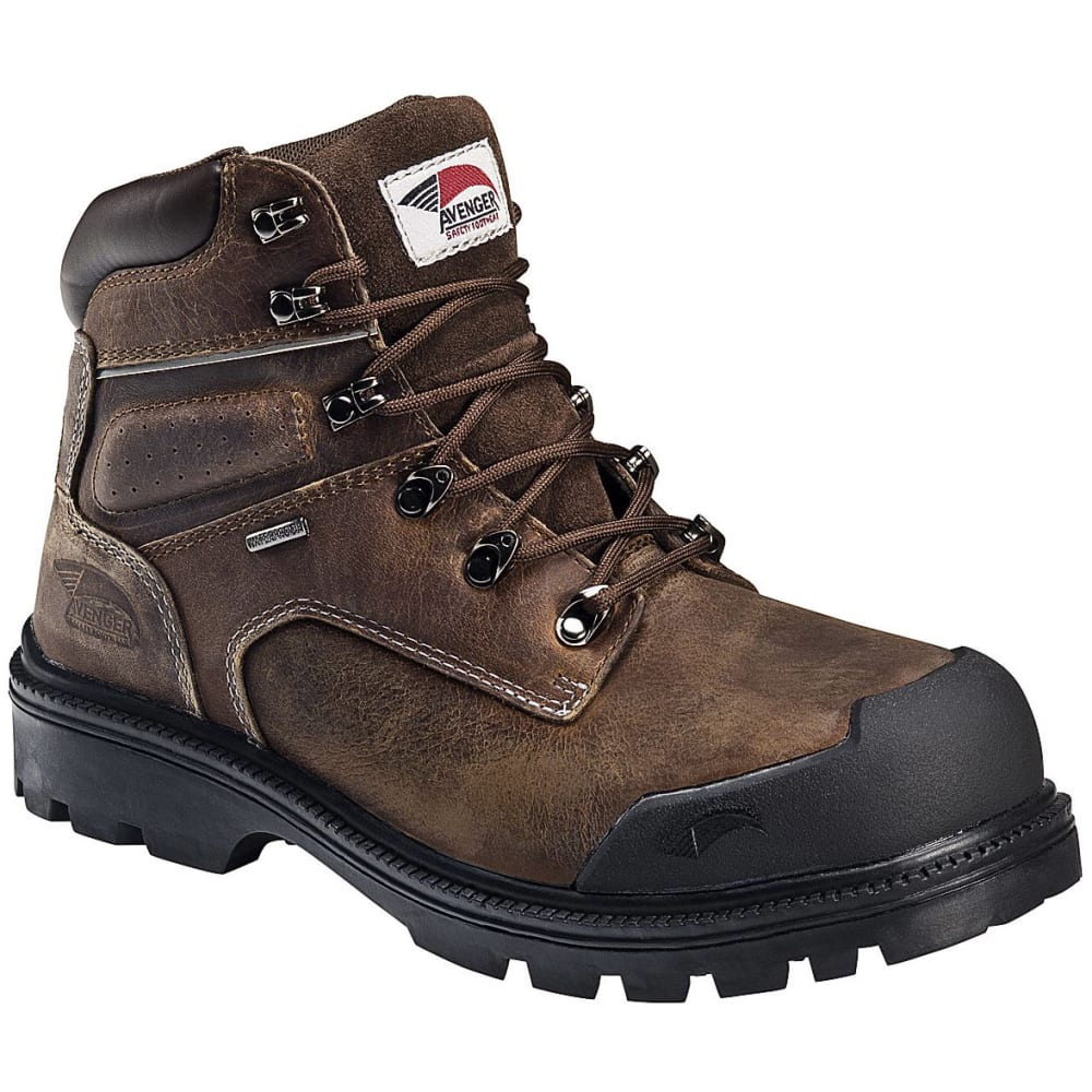 Avenger Men's 7258 6 In. Steel Toe Puncture-Resistant Work Boot, Wide - Brown, 7