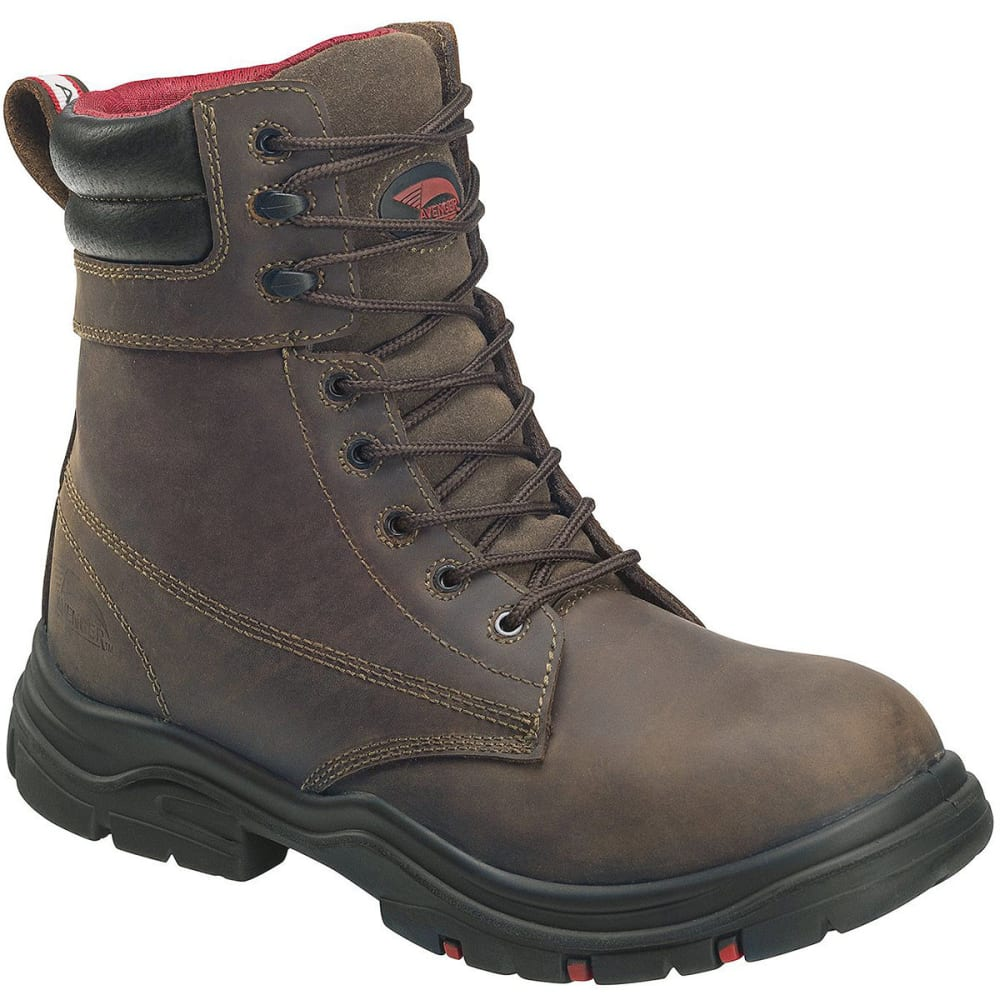 Avenger Men's Hoss 7266 Composite Toe 8 In. Waterproof Workboots, Wide - Brown, 7