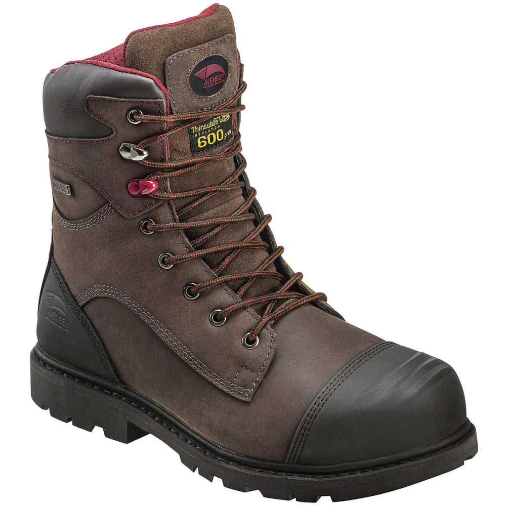 AVENGER Men's 7573 8 in. Nano Tech Composite Toe Waterproof Work Boots, Wide - BROWN