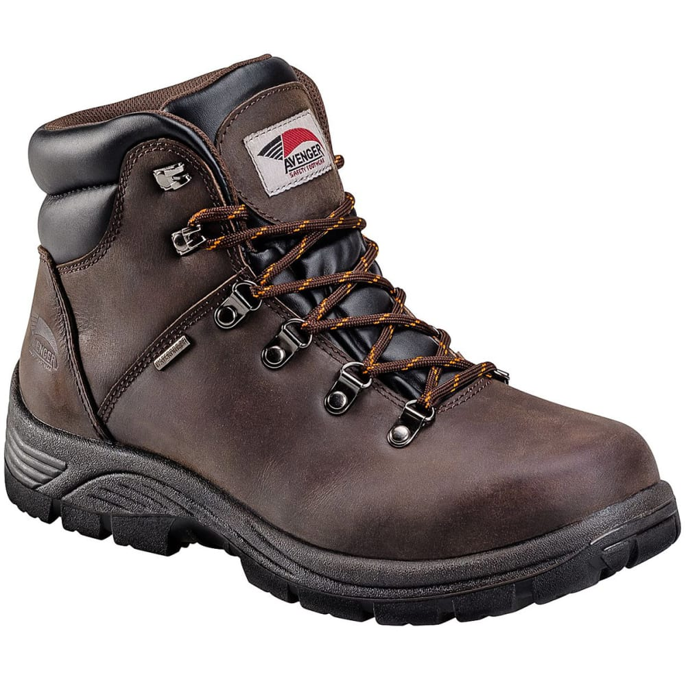 AVENGER Men's 7625 6 in. Waterproof Work Boot, Wide - BROWN