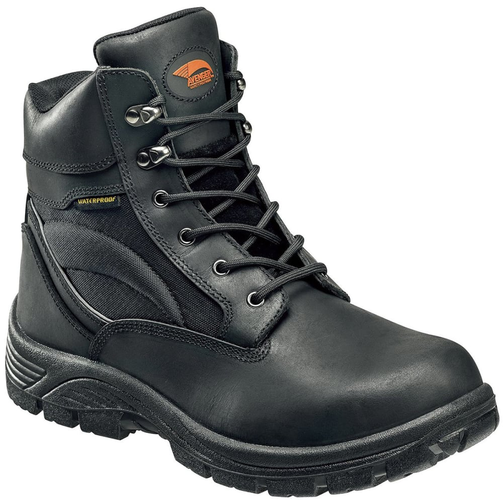 AVENGER Men's 7627 6 in. Waterproof Work EH Work Boot - BLACK