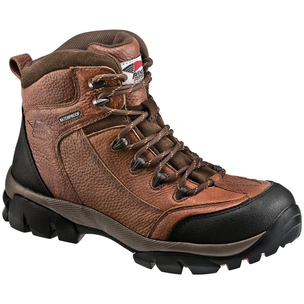 AVENGER Men's 7644 6 in. Soft Toe Waterproof EH Work Boot - BROWN