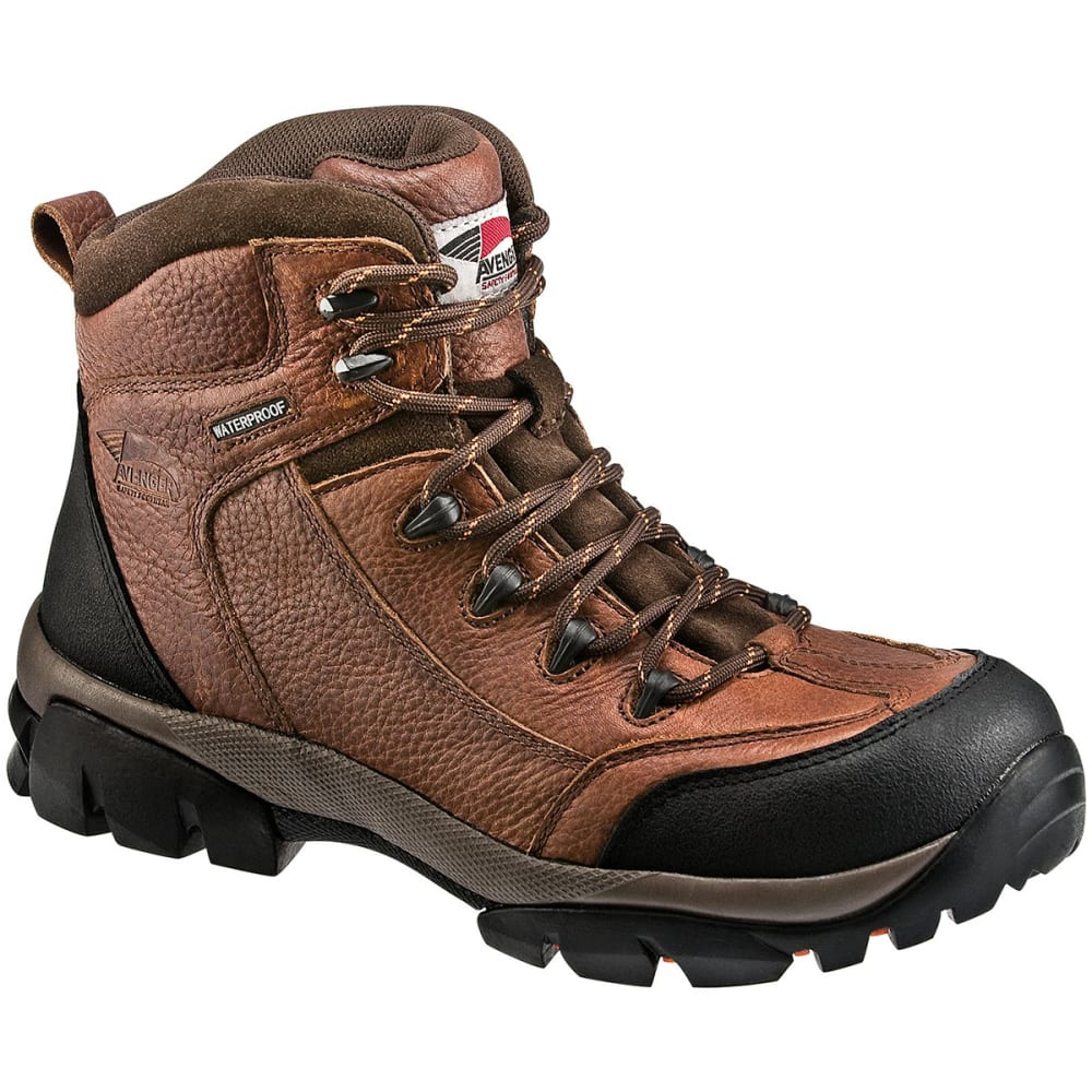 Avenger Men's 7644 6 In. Soft Toe Waterproof Eh Work Boot, Wide - Brown, 7