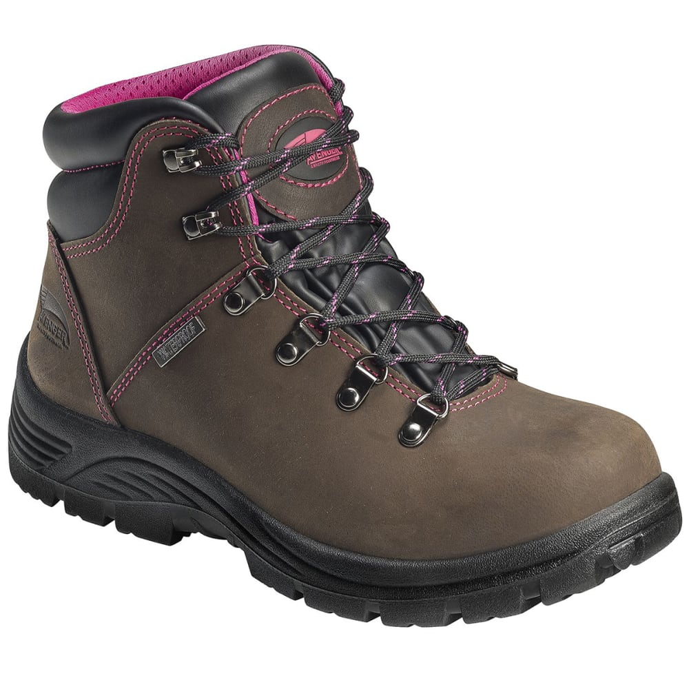 Avenger Women's 7675 6 In. Waterproof Work Boot, Wide - Brown, 6
