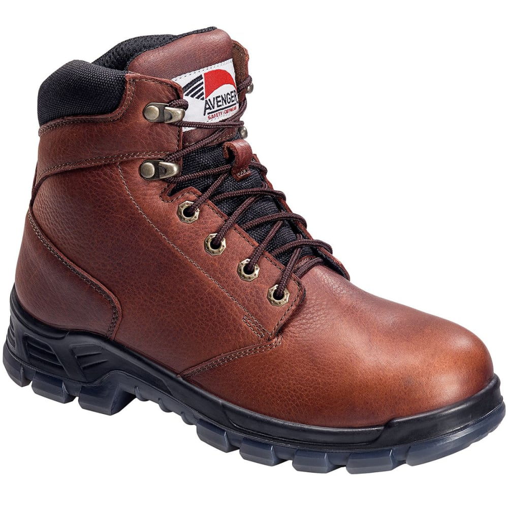 AVENGER Men's 7923 6 in. Steel Toe Waterproof Work Boot, Wide - BROWN