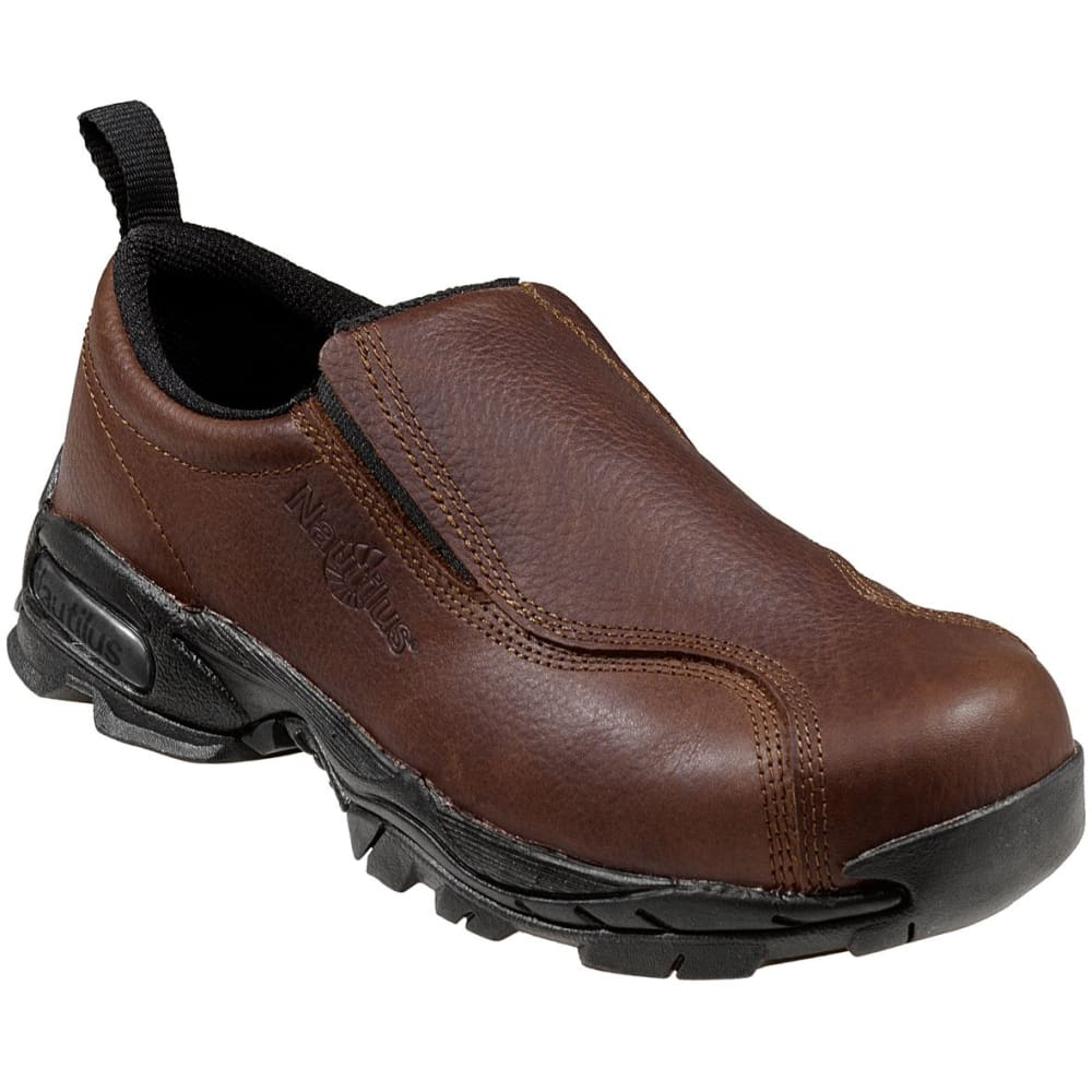 NAUTILUS Men's 1620 Steel Toe Slip-on Work Shoe, Wide - BROWN
