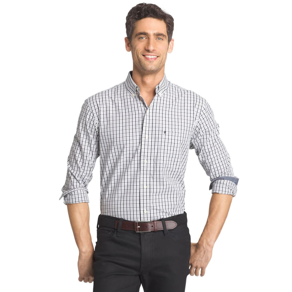 IZOD Men's Tattersall Plaid Poplin Shirt - 001-BLACK
