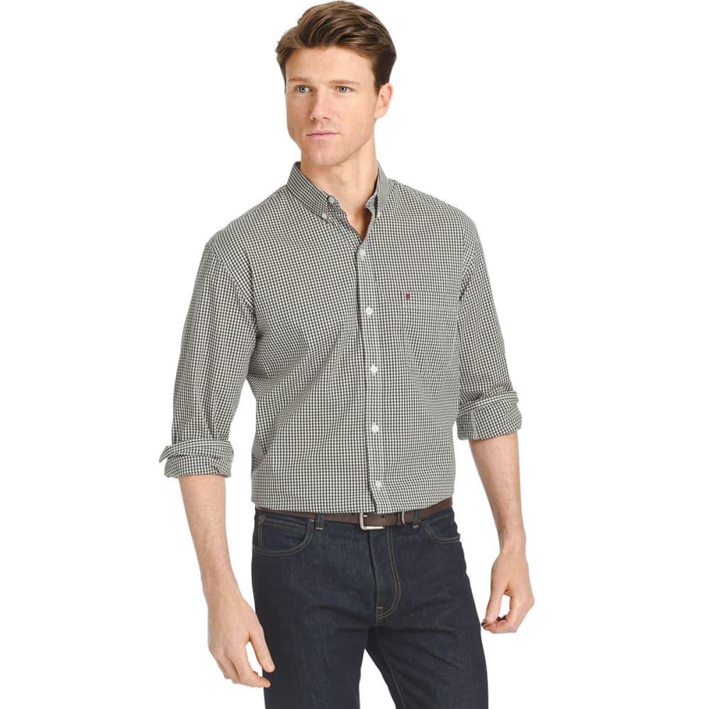 IZOD Men's Gingham Check Stretch Shirt - 313-DARKEST SPRUCE