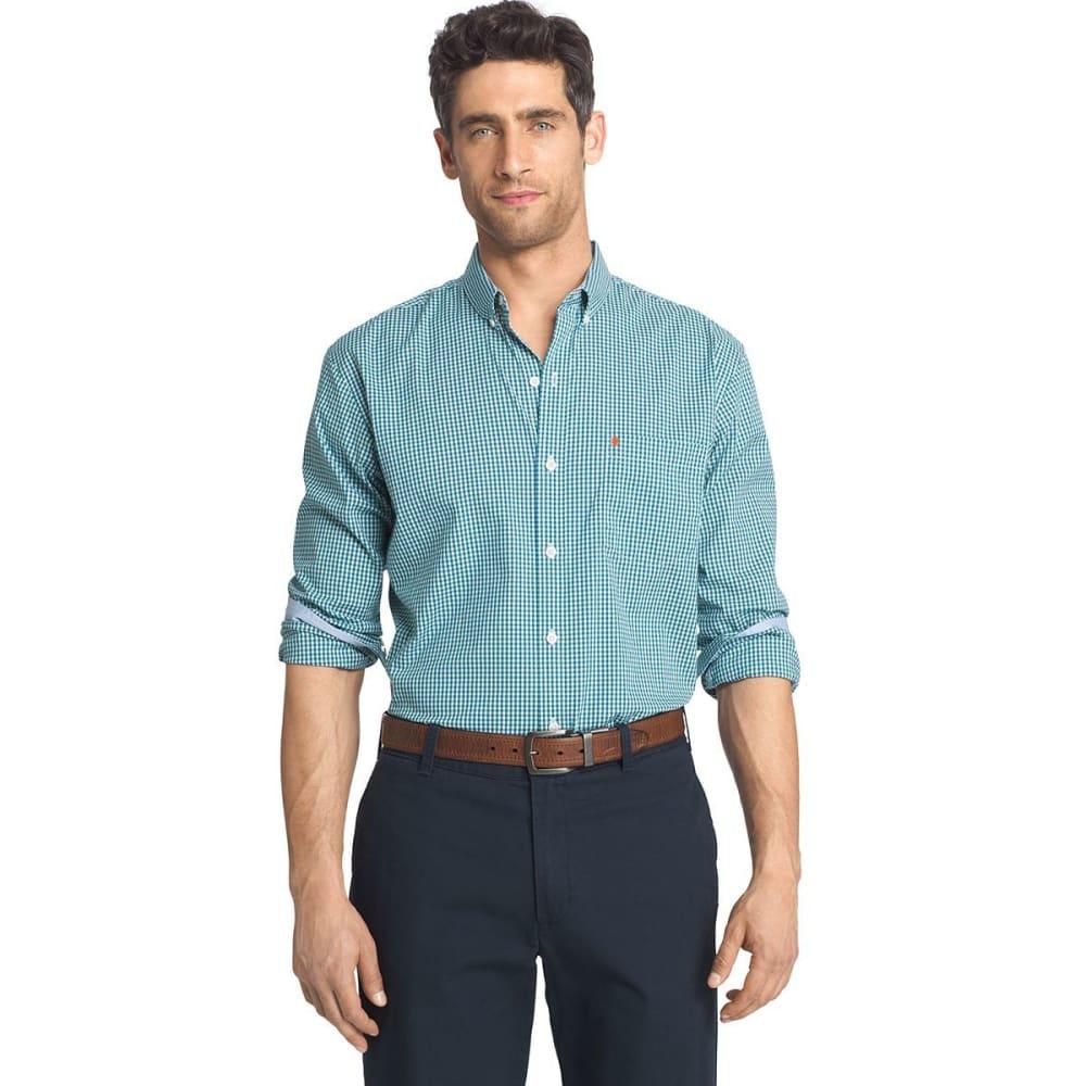 Izod Men's Gingham Check Stretch Shirt - Green, XXL
