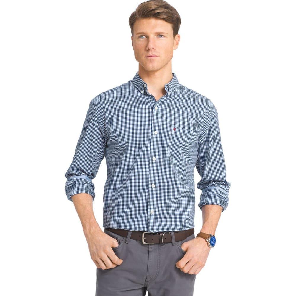 IZOD Men's Gingham Check Stretch Shirt - 408-MIDNIGHT