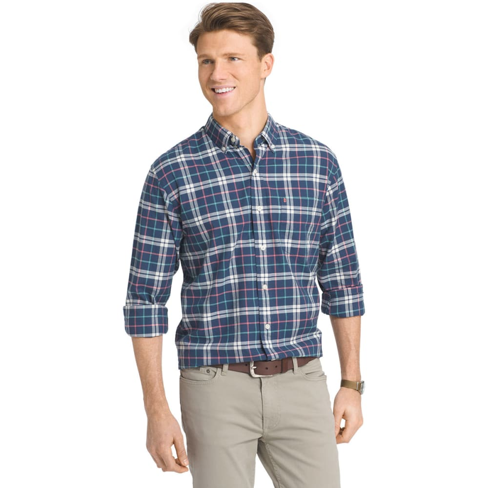 IZOD Men's Oxford Plaid Long-Sleeve Woven Shirt - 476-DARK DENIM