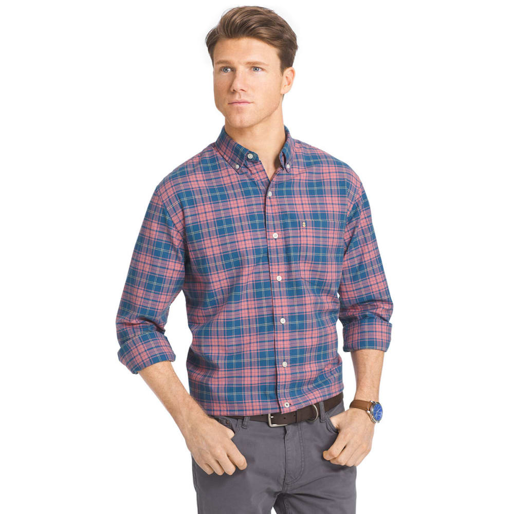 IZOD Men's Oxford Plaid Long-Sleeve Woven Shirt - 474-DARK BLUE