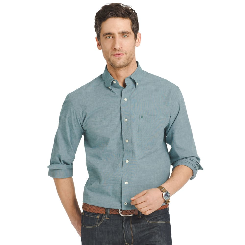 IZOD Men's Solid-Color Poplin Shirt - 407-DEEP TEAL