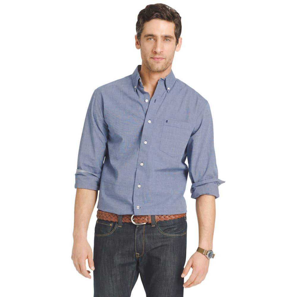 IZOD Men's Solid-Color Poplin Shirt - 413-BLUE DEPTHS