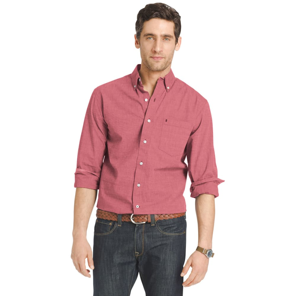 IZOD Men's Solid-Color Poplin Shirt - 614-RED DAHLIA