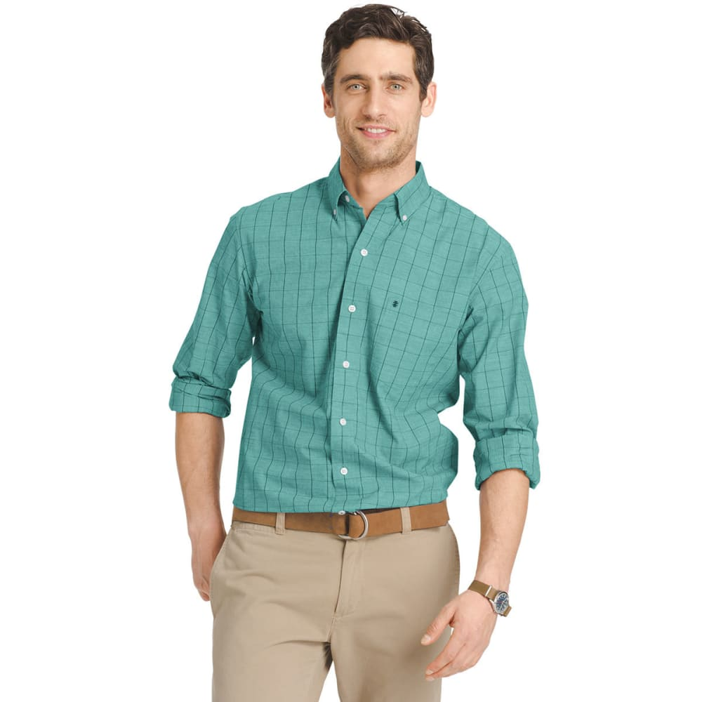 IZOD Men's Windowpane Plaid Poplin Shirt - 407-DEEP TEAL