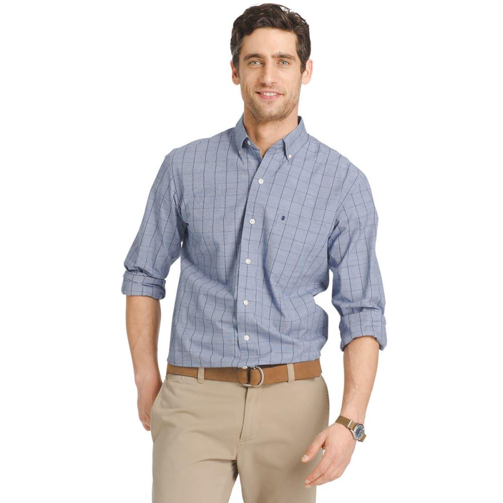 IZOD Men's Windowpane Plaid Poplin Shirt - 413-BLUE DEPTHS