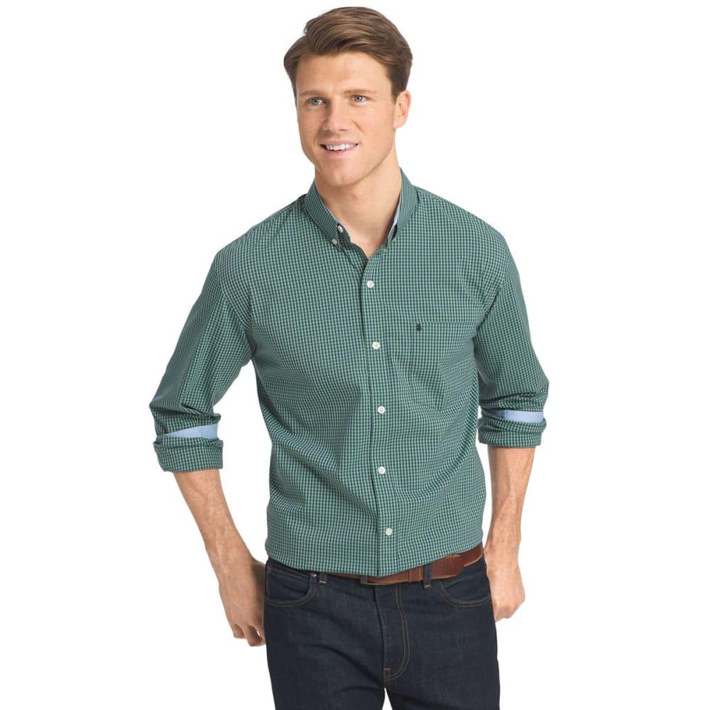 IZOD Men's Gingham Stretch Long-Sleeve Shirt - 322-VERDANT GREEN