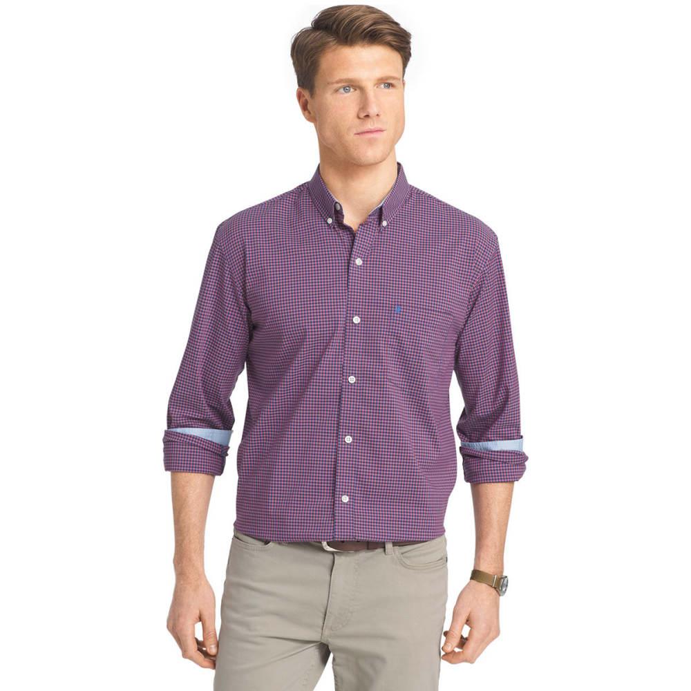 IZOD Men's Gingham Stretch Long-Sleeve Shirt - 648-SALTWATER RED